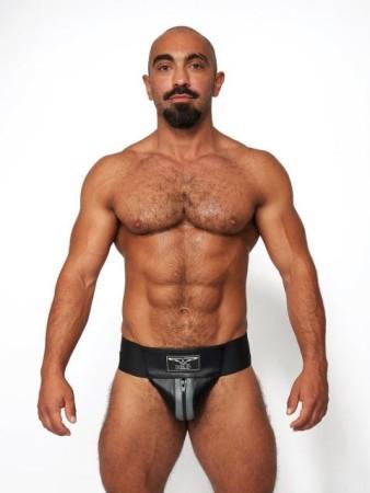 Jocksy Mister B Leather Premium Jockstrap černo-šedé