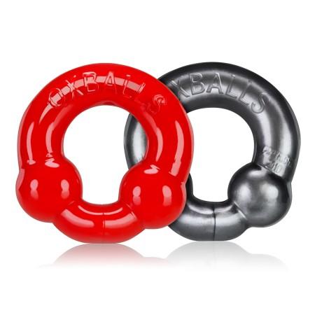 Erekční kroužky Oxballs Ultraballs stříbrný a červený