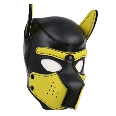 Psí maska Neoprene Puppy Hood žluto-černá